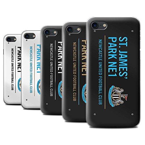 Officiel Newcastle United FC Coque / Etui pour Apple iPhone 7 / Noir/Bleu Design / St James Park Signe Collection Pack 6pcs
