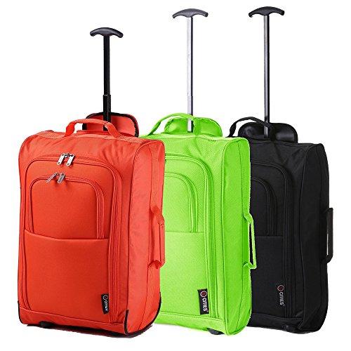 Lot de 3 Super Léger de Voyage Bagages Cabine Valise Sac à Roulettes (Orange / Vert / Noir)