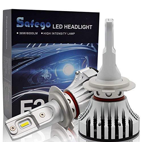 Safego Lampadine H7 LED 8000LM, Fari Abbaglianti o Anabbaglianti per Auto, Kit Lampada Sostituzione per Alogena Lampade e Xenon Luci, DC 12V-24V, 6500K Bianco, 2 Lampadine