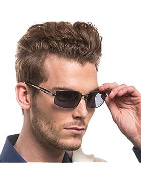 Rectangulares Gafas De Sol Hombre Polarizadas Anti Reflectante Ultraligero Metal 100% Protección UVA UVB