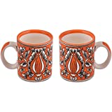 OJOS(™) Hand-Painted Red Mughal Art Painted Mug, Set Of 2, Handcrafted Milk Mug Red Ceramic Coffee Mug [SET OF 2] Magic Mug Cup Morning Tea Milk Mug