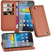 Cadorabo - Funda Huawei ASCEND G7 Book Style de Cuero Sintético en Diseño Libro - Etui Case Cover Carcasa Caja Protección (con función de suporte y tarjetero) en MARRÓN-CHOCOLATE