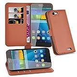 Cadorabo Hülle für Huawei G7 Hülle in Schoko braun Handyhülle mit Kartenfach und Standfunktion Case Cover Schutzhülle Etui Tasche Book Klapp Style Schoko-Braun