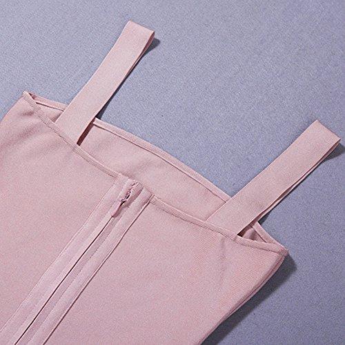 HLBandage Spaghetti Strap Pure Color Midi Bandage Dress Rose