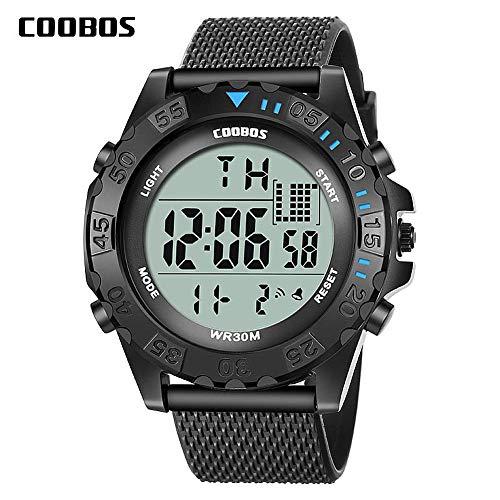 Digital Led Elektronische (Herrenuhr Digitale Armbanduhr,Elektronische Uhr LED Sport Schwarze Uhr Alarm/Zeitmesser/LED Hintergrundbeleuchtung für Männer Silicon Armband wasserdichte Uhr)