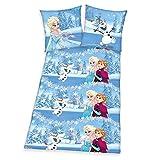 Frozen - Olaf - Anna und Elsa - Die Eiskönigin - völlig unverfroren - blau - Disney - Flanellbettwäsche - Jugendbettwäsche - Bettwäsche - witzige Bettwäsche - Gr. 80 x 80 cm, Bettbezug: 135 x 200 cm - Flanell - Material: 100 % Baumwolle / waschbar bei 60°C, trocknergeeignet