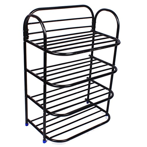 Ebee Shoe Rack with 4 Shelves (Black)