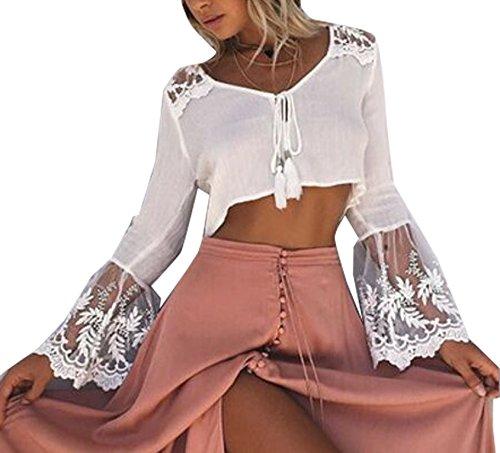 Damen Reizvoll Spitzen Nähen Mit V-Ausschnitt T-Shirt Herbst Tops Beiläufige Blusen Oberteile Weiß