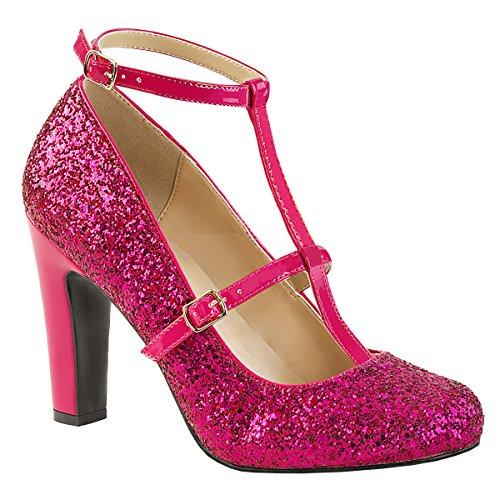 Higher-Heels Pink Label Glitter Queen-01 hot pink Gr. 47 -