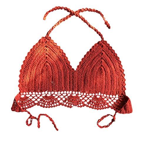 Amanda Tank Top (Tyoby Damen Bademode Sexy Schlauchoberseite Einfarbig Stricken Bikini Sommer Bikini Top Amanda (Wassermelonenrot,S))