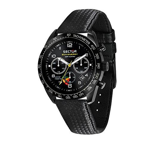 SECTOR NO LIMITS Herren Chronograph Solar Uhr mit Leder Armband R3271613001 (Sector Uhren)