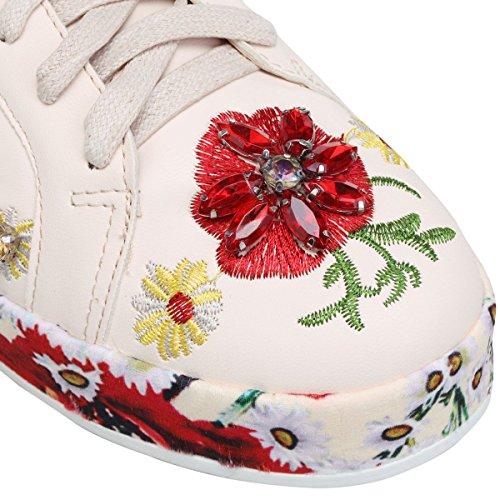 La Modeuse Baskets Simili Cuir à Détails Fleuris Beige