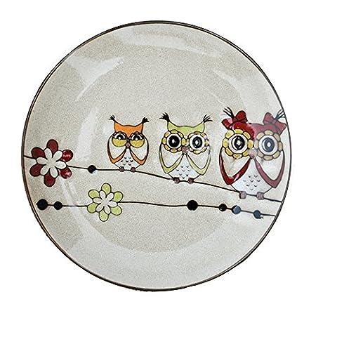 BoneChina Plates,Bestcatgift Owl Pattern BoneChina Dinner Plate Ceramic Salad Dessert Plates,8 Inch, Multicolor Bone China Lunch