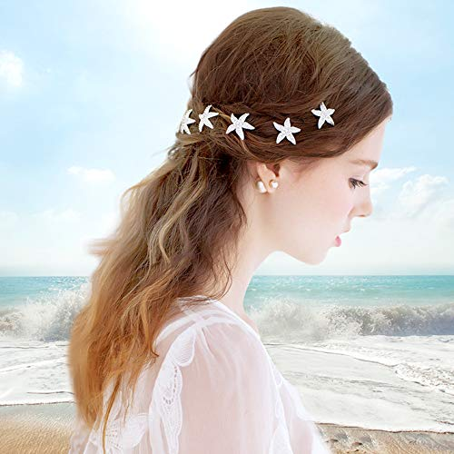 Haarnadeln Seestern, Wolintek 6er Set Haarspange Süße Stern mit Perlen Strass Haarklammer Haarspiralen Braut Hochzeit Haarschmuck