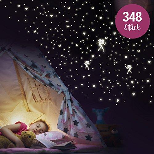 """Wandkings """"Feen mit Herzen, Sternen, Schmetterlingen"""" Wandsticker / 348 Sticker / Fluoreszierend & im Dunkeln leuchtend"""