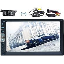 Cámara de respaldo inalámbrica + 7 pulgadas de pantalla táctil capacitiva estéreo de coches en el audio de vídeo trazo enlace de espejo para teléfonos Android APP doble dinar coche NO-reproductor de DVD