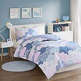 SCM Baby Bettwäsche 100x135cm 100% Baumwolle mit bunten Wolken & Herzen 2 teilig Bettbezug Kopfkissenbezug 40x60cm Renforcé Mädchen Jugendliche Teenager Einzelbett Cloud Blau Pink