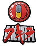 Akira & Good For Health Bad For Education Pill Embroidered Japanese Anime Emo punk Scifi Iron on Aufnäher Patch set