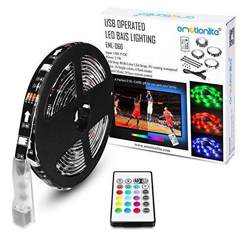Emotionlite Cinta de Iluminación de Sesgo de Cinta de Contraluz de TV de LED RGB de Multi-color Encendido por El Color de la Cinta es Cambiado con el Control Remoto de 24 Teclas para la LCD HDTV de Pantalla Plana Desde 32' a 60' y el PC en Escritorio