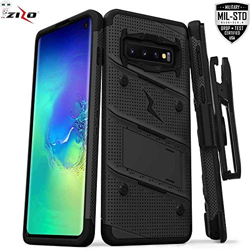 Zizo Bolt Cover - Case for Samsung Galaxy S10+ with Military Grade + Glass Screen Protector und Kickstand and Black Protector Cover