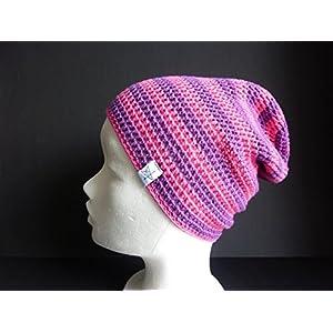Sommermütze Häkelmütze in pink und lila gestreift aus Baumwolle