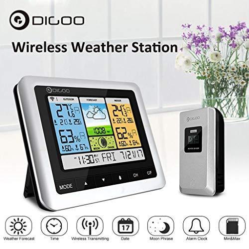 TFXHGGM Digoo DG-TH8888Pro - Stazione meteo senza fili USB con orologio di rilevamento esterno