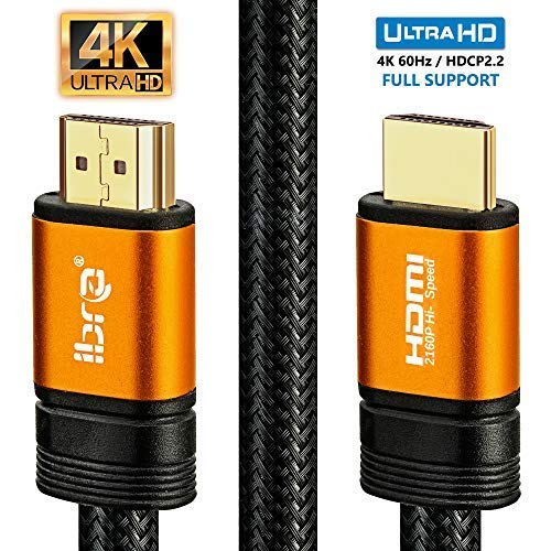 4K HDMI Kabel 2M HDMI 2.0b Kabel 4K@60Hz HighSpeed 18Gbps Nylon Geflecht Vergoldete Anschlüsse mit Ethernet/Audio Rückkanal,Kompatibel mit Video 4K UHD 2160p,HD 1080p,3D Xbox PS4 - IBRA ORANGE