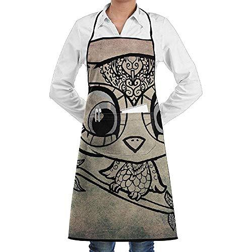 UQ Galaxy Küche Schürzen,Eulen-Baum-Dekor-Damast-Schutzblech-Spitze-Erwachsen-Chef Adjustable Long Full Black, das Küchen-Schutzbleche mit Taschen für das Backen kocht, das BBQ in Handarbeit - Eule Im Baum Kostüm