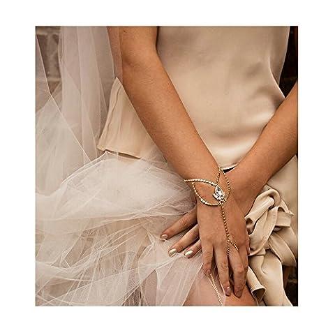 AnaZoz 1 Stück Damen Hochzeit Verlobung Köperkette Set Armband AAA Zirkonia Straß Wassertropfen Anhänger, Armreif Armbänder Körperschmuck Gold für Frauen