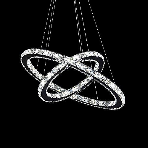 63W LED Kristall Design Hängelampe Deckenlampe Deckenleuchte Pendelleuchte Kreative Kronleuchter Zwei Ringe KaltesWeiß Lüster (63W Kaltes Weiß)