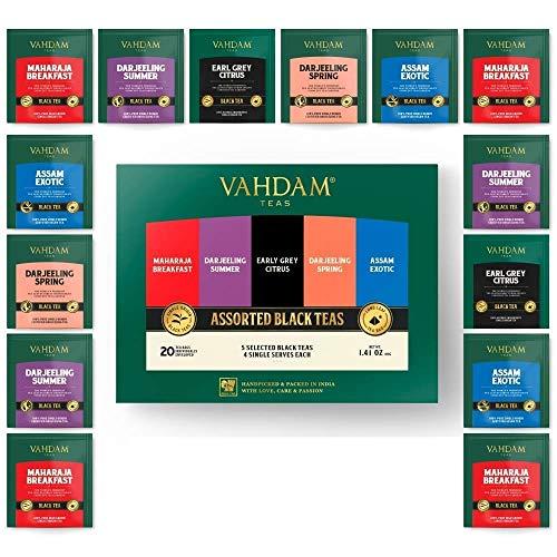 VAHDAM, Schwarzteesortiment | 5 Tees, 4 Pyramid Tea Bags Jeder | Maharaja Frühstück, Earl Grey Citrus, Darjeeling Sommer, Assam Exotic & Darjeeling Frühling Schwarztees | 20 teebeutel für losen tee