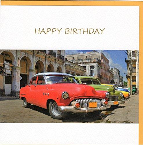 "Fine Art Glückwunschkarte zum Geburtstag ""Happy Birthday"" - Oldtimer in Havanna - auf edlem Stucco Tintoretto Karton FA7037"