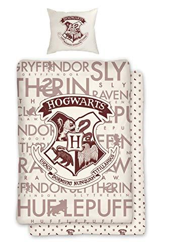 Character World Wende Bettwäsche Set Harry Potter 135 x 200 cm 80 x 80 cm, 100{e767553ef68a70186705438ebb9fdb514102718cebefe4e8670ce2a6a40abfb4} Baumwolle, Linon, Hogwarts, deutsche Standartgröße