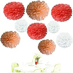 Since 18Pcs of 8 10 14 3 Colors Mixed Coral White Peach Tissue Paper Flowers,Tissue Paper Pom Poms, Wedding Party Decor, Pom Pom Flowers,Tissue Paper Flowers Kit,Pom Poms Craft,Pom Poms Decor