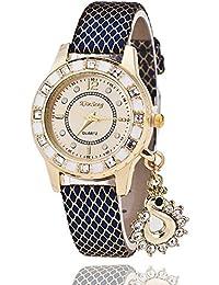 2d80449f44 Habors Leather Black Rhinestone Studded Swan Charm Blue Women's Bracelet  Watch (JFBD343BL_A)