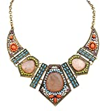 Collier Gems, Reaso Bib Vintage 1PC Statement Necklace Collier de chaîne (Beige)