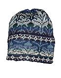 Invisible World Damen und Herren 100% Alpaka Wintermütze - Handgestrickte und warme Winter Beanie Mütze - Winter Blau - Größe L