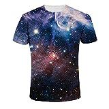 Quceyu T Shirt Herren 3D Kreativ Muster Kurzen Ärmels mit Rundhalsausschnitt Lässig Graphic Top Tees (XX-Large, Universum)