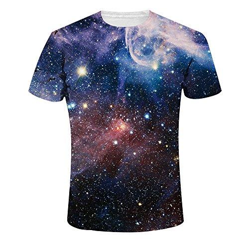 Quceyu T Shirt Herren 3D Kreativ Muster Kurzen Ärmels mit Rundhalsausschnitt Lässig Graphic Top Tees (Medium, Universum) -