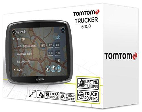 TomTom Trucker 6000 LKW-Navigationsgerät (15 cm (6 Zoll) kapazitives Touch Display, Sprachsteuerung, Click&Go-Halterung, Traffic/Lifetime LKW-Karten) schwarz - 6