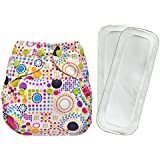 Bumberry Reusable Diaper Cover and 2 Wet Free Inserts (3-36 months) (Retro Print) (Multicolor)