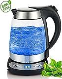 Unbekannt Glas Edelstahl Wasserkocher mit Temperaturwahl (55°C-95°C) | 2.200 Watt | 1,7 Liter | Warmhaltefunktion | exclusive blaue LED Beleuchtung | Temperatureinstellung |