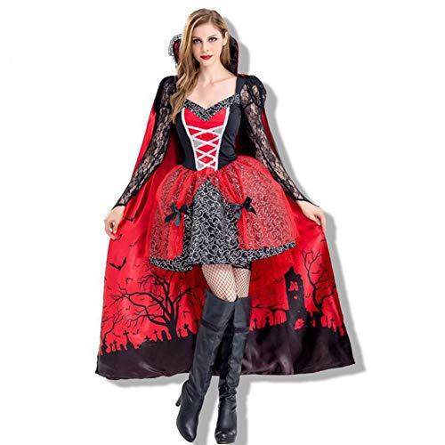 Kostüm Red Queen Kinder - ZYJP Halloween Kostüm Hexe Rollenspiel Vampire Queen Party Party Stage Performance Kostüm Teufel Anzug,Red-M
