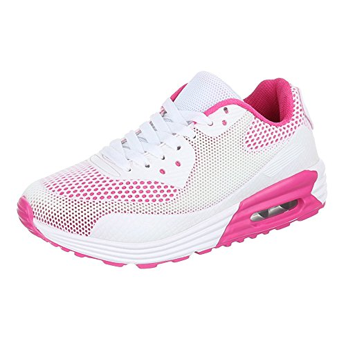 Chaussures pour femme, 125, Chaussures casual Sneakers formateurs Blanc - White - Weiß Rosa