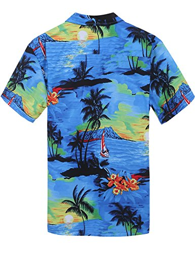 Coofandy Chemise Homme Aloha Hawaïenne Manches Courtes Floral Casual Impression Style Bleu