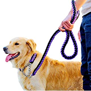 VICTORIE Dog Leash Rope Lead Chain Traction Strong Heavy Duty for Small Medium Large Dogs Training Walking Running Play Camping Backyard purple+black M(1.5cm*120cm