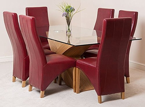 VALENCIA LARGE OAK DINING TABLE   6 OR 8 LOLA LEATHER CHAIRS  AVAILABLE IN  4 COLOURS   RED  TABLE   6 CHAIRS  Amazon co uk  Kitchen   HomeVALENCIA LARGE OAK DINING TABLE   6 OR 8 LOLA LEATHER CHAIRS  . Dining Table And 6 Red Leather Chairs. Home Design Ideas