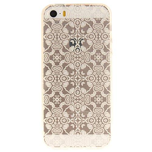 Qiaogle Téléphone Coque - Soft TPU Silicone Housse Coque Etui Case Cover pour Apple iPhone 5 / 5G / 5S / 5SE (4.0 Pouce) - TX77 / Noir mandala TX71 / Blanc Totem Fleur