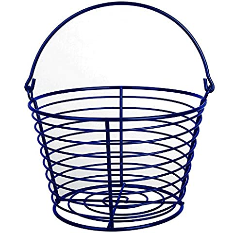 CrazyGadget® Country Farm Stye Strong Colour Metal Wire Egg Holder Stand Basket with Handle - Holds More Than 24 Eggs (Dark