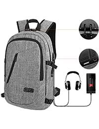 DELONIX Mochila de viaje para portátil con puerto de carga USB, interfaz de auriculares, resistente al agua, antirrobo,…